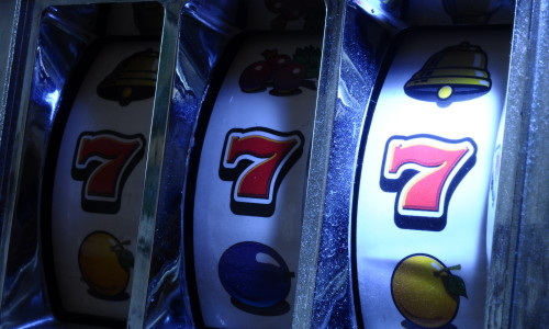 Close up of three seven Jackpot on slot machine