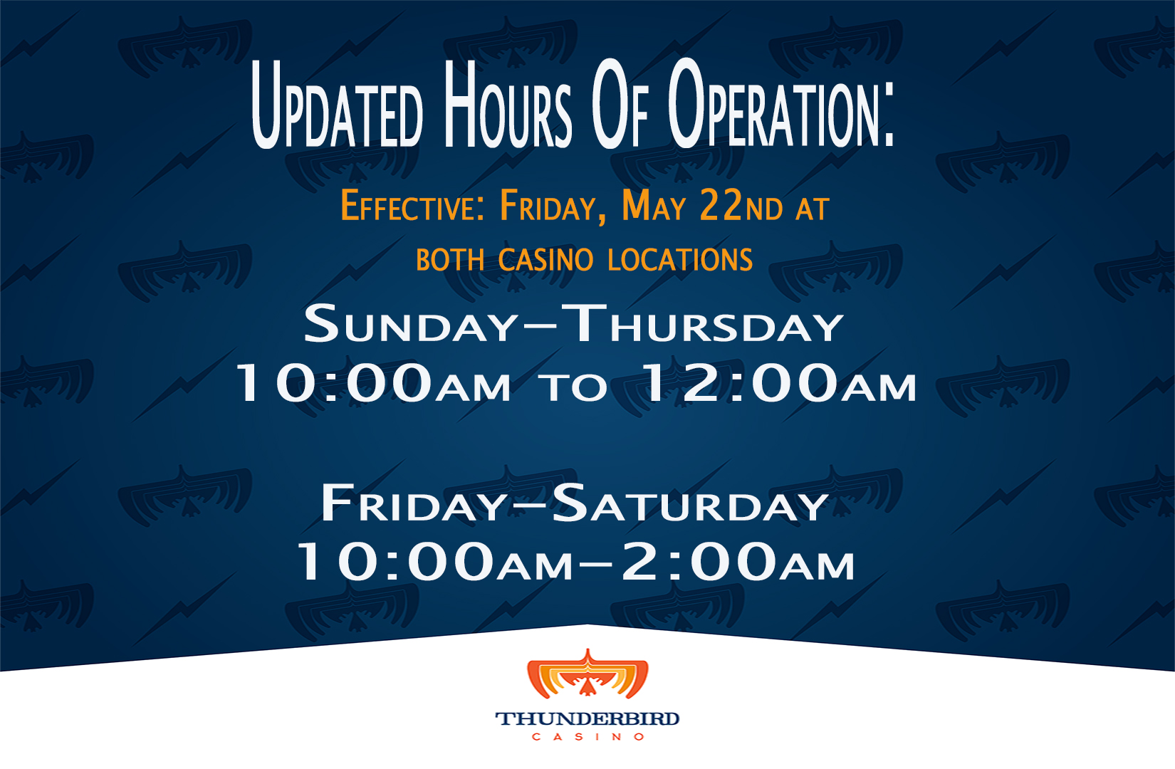 new hours casino